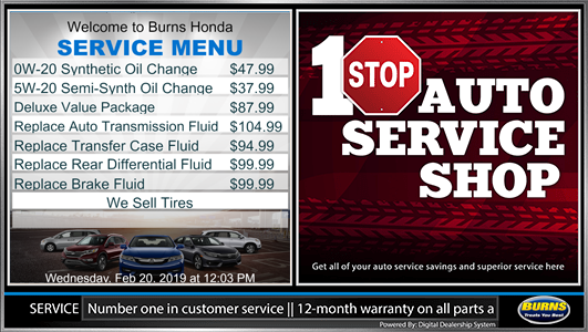 dealer digital service menu board